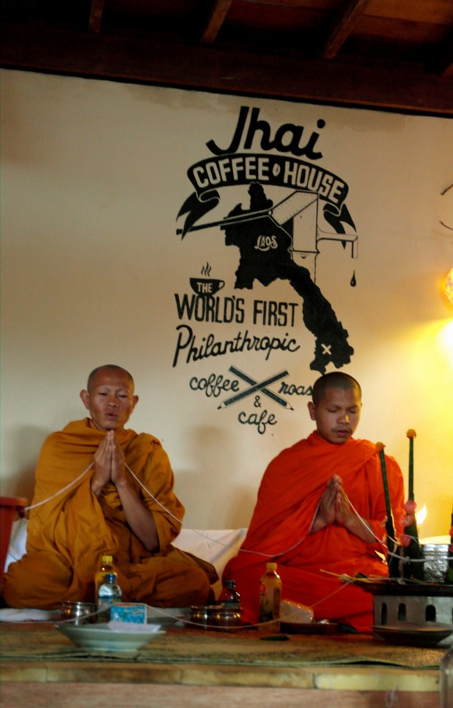 Monks blessing Jhai Coffee House